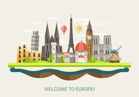 Photo pour Vector illustration of flat design composition with famous european world landmarks icons - image libre de droit