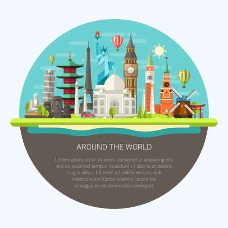 Illustration pour Illustration  of vector flat design postcard with famous world landmarks icons - image libre de droit