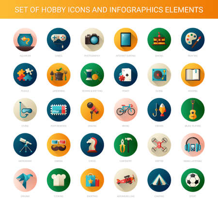Illustration pour Set of vector modern flat design hobby icons and infographics elements - image libre de droit