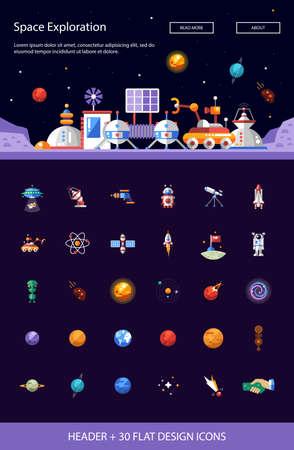 Ilustración de Header with vector modern flat design space icons and infographics elements set for your website illustration - Imagen libre de derechos