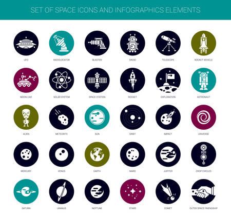 Ilustración de Set of vector space icons, pictograms and infographics elements - Imagen libre de derechos