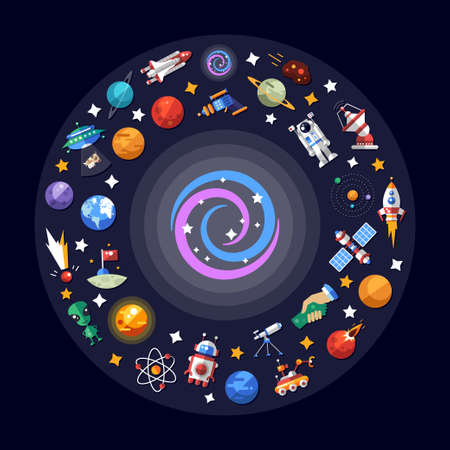Ilustración de Vector flat design illustration of space icons and infographics elements - Imagen libre de derechos