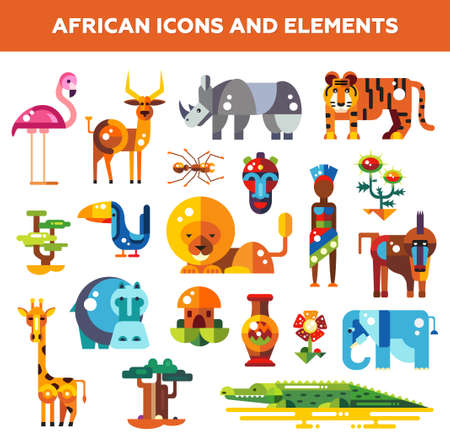 Illustration for Set of flat design african icons and infographics elements with animals - Royalty Free Image
