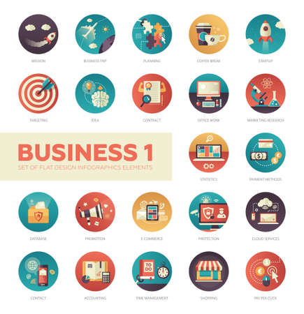 Ilustración de Set of modern flat design business vector infographics icons - Imagen libre de derechos