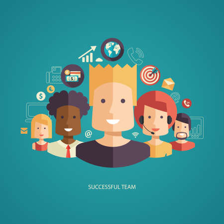 Illustration pour Illustration of vector flat design business composition with successful team - image libre de droit