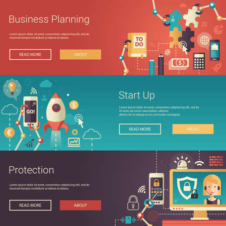 Ilustración de Set of modern vector flat design business banners, headers with icons and infographics elements. Planning, start up and protection - Imagen libre de derechos