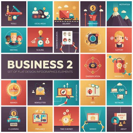 Illustration pour Set of modern flat design business vector infographics icons - image libre de droit