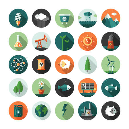 Ilustración de Modern vector flat design conceptual ecological iconsand infographics elements - Imagen libre de derechos