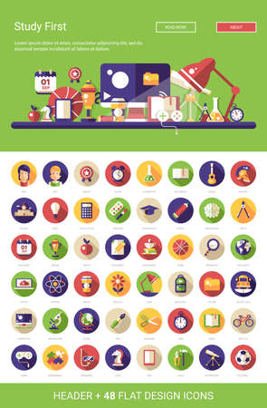 Photo pour Header with vector modern flat design school, college icons and infographics elements set for your website illustration - image libre de droit