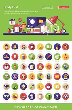 Illustration pour Header with vector modern flat design school, college icons and infographics elements set for your website illustration - image libre de droit