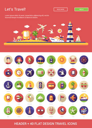 Illustration for Header with vector modern flat design travel, vacation, tourism icons and infographics elements set for your website illustration - Royalty Free Image