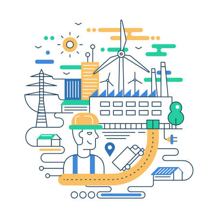 Ilustración de Illustration of vector modern line flat design city composition with people, factory buildings and alternative energy infographics elements - Imagen libre de derechos