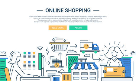 Illustration pour Illustration of vector modern line flat design online shopping composition and infographics elements with online purchase process - image libre de droit