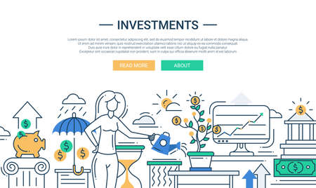 Illustration pour Illustration of vector modern line flat design investments composition and infographics elements with a woman watering a money tree and increasing profit - image libre de droit