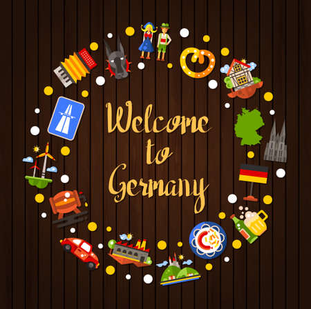 Illustration pour Welcome to Germany - vector flat design Germany travel circle postcard template with icons and infographics elements of famous German symbols - image libre de droit