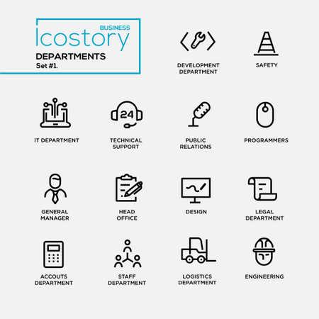 Illustration pour Set of modern vector office departments thin line flat design icons and pictograms. - image libre de droit