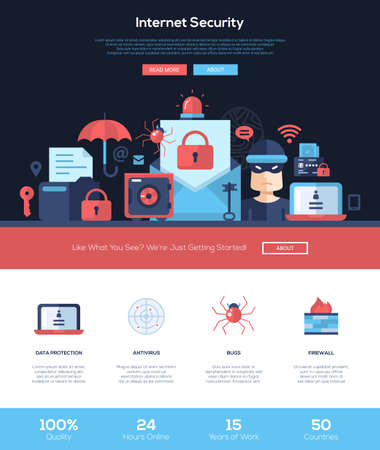 Illustration pour Internet security services web site one page website template layout with flat header, banner, icons and other flat design web elements - image libre de droit