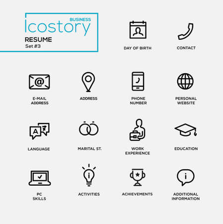 Illustration pour Set of modern vector plain simple thin line design icons and pictograms for your resume. DOB, contact, phone, address, website, work experience, education, activities, information, info - image libre de droit