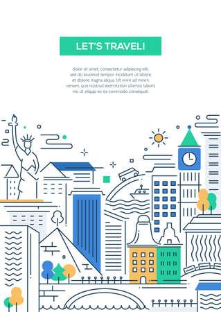 Ilustración de Lets travel - vector modern line flat design traveling composition with world famous landmarks - Imagen libre de derechos