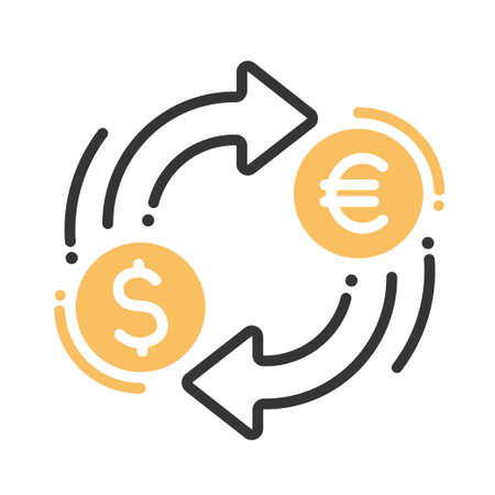 Ilustración de Currency exchange single isolated modern vector line design icon with dollar, euro signs - Imagen libre de derechos