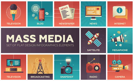 Illustration for Set of modern vector flat design mass media icons and mass media pictograms. Tv, newspaper, blog, internet, radio satellite, megaphone, broadcasting, camera, snapshot - Royalty Free Image