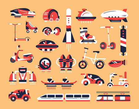 Foto de Means of transport - set of modern vector flat design icons and pictograms. Road, air, futuristic, etro, rocket, train, vehicle, electric car, skateboard, hoverboard scooter bicycle airship - Imagen libre de derechos