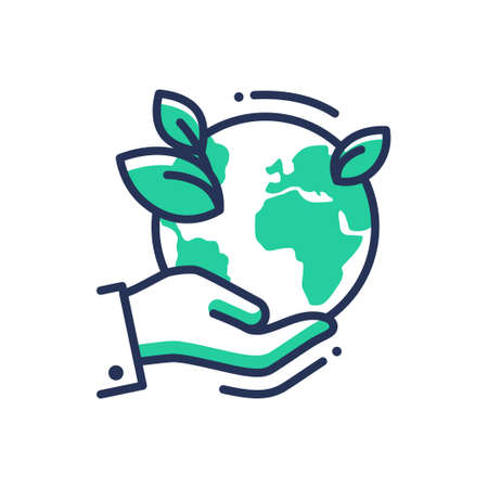 Photo pour Green Earth - modern vector single line icon. An image of a planet on the palm of the hand, emerald leaves . Representation of nature, eco, health, eco lifestyle, hope - image libre de droit