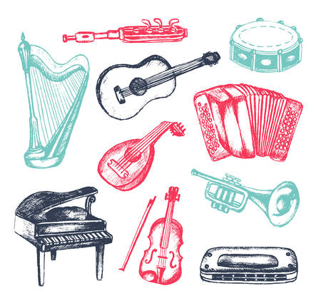 Illustration for Musical Instruments - illustration of hand drawn vintage composition - Royalty Free Image