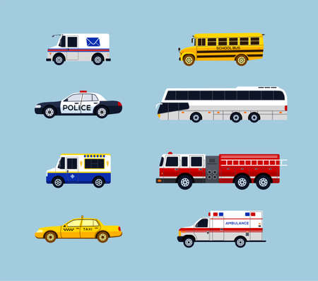 Ilustración de Vehicle Transportation - modern vector flat design icons set. Mail, school bus, police car, taxi, ambulance, charter, ice cream truck, fire engine. Make a presentation, display city services. - Imagen libre de derechos