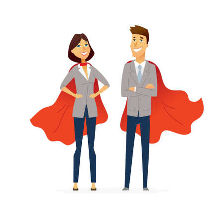 Illustration pour Business People - colored vector flat design composition of cartoon characters. Make a great presentation with these people in red superhero capes, Responsibility, efficiency, success. - image libre de droit