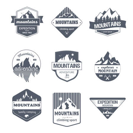 Illustration pour Climbing Sport - vintage vector set of logos - image libre de droit