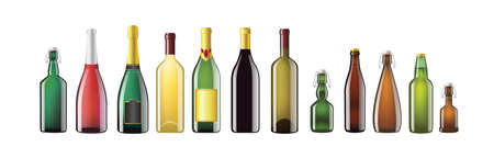 Illustration pour Alcohol Bottles - realistic vector set of objects - image libre de droit