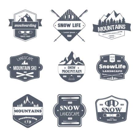 Illustration pour Winter Sport - vintage vector set of logos - image libre de droit