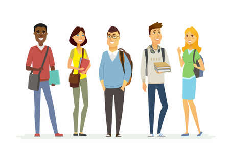 Illustration for Happy senior school students - illustration of cartoon people characters. - Royalty Free Image