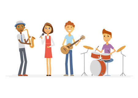 Ilustración de School music band - illustration of isolated cartoon people characters. - Imagen libre de derechos