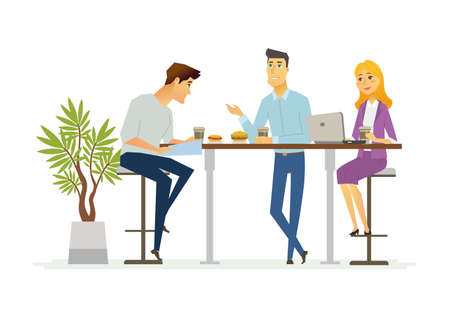 Ilustración de Business Lunch - vector illustration of office situation. Cartoon people characters of young female, male colleagues, partners having rest, talking at the laptop. Scene with three employees discussing - Imagen libre de derechos