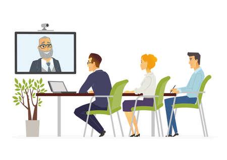 Ilustración de Distance Meeting - modern vector cartoon business characters illustration - Imagen libre de derechos