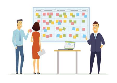Ilustración de Office Kanban planning system - modern vector business cartoon characters illustration - Imagen libre de derechos