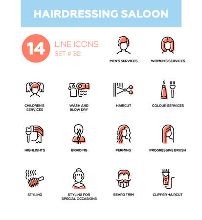 Photo pour Hairdressing Saloon - modern vector single line icons set - image libre de droit