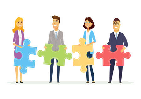Ilustración de Teamwork in a company - modern cartoon people characters illustration with smiling businesspeople holding puzzle pieces and standing together. Creative metaphorical concept of unity and partnership - Imagen libre de derechos