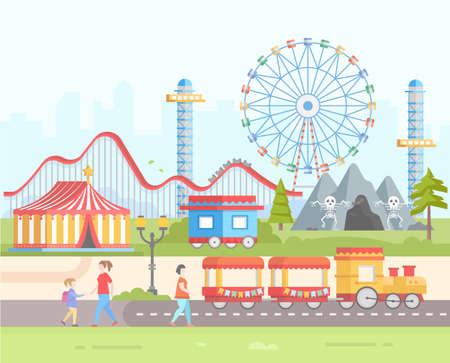 Illustration pour Modern amusement design style on a weekend illustration. - image libre de droit