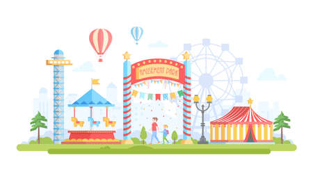 Illustration pour City with amusement park - modern flat design style vector illustration on urban background. Lovely view with attractions, merry-go-round, chapiteau, drop tower, big wheel. Entertainment concept - image libre de droit