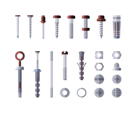 Illustration pour Metal hardware - modern vector isolated illustration on white background. Screws, bolts, nuts and rivets. Collection of metalware, goods and products. Grey and red color - image libre de droit