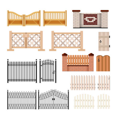 Photo pour Set of fences - modern vector realistic isolated clip art on white background. Gates of different structures, materials, colors. Metal forging, stone and brick masonry and wood hedges with wickets - image libre de droit