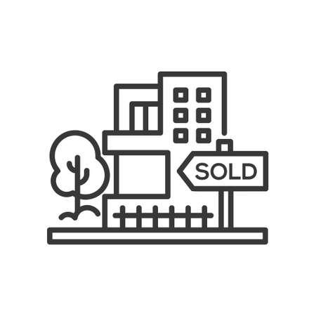 Illustration pour Sold sign - line design single isolated icon - image libre de droit