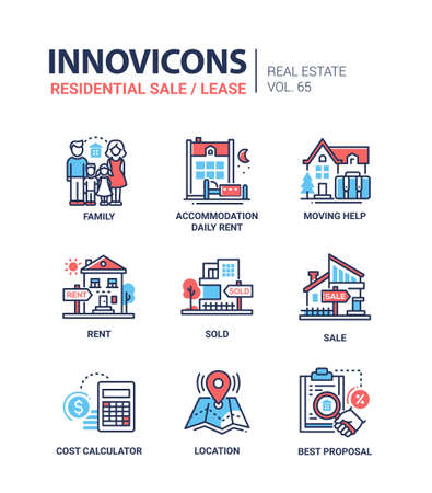 Illustration pour Residential sale and lease - line design icons set - image libre de droit