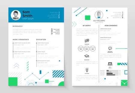 Photo pour Personal CV- set of modern vector template illustrations - image libre de droit