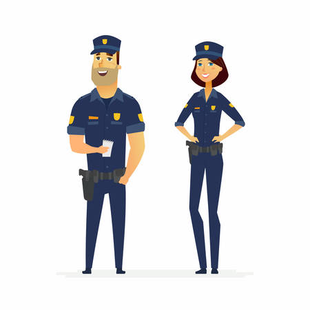 Ilustración de Police officers on duty - cartoon people characters illustration isolated on white background. Young smiling standing man and woman in typical uniform with holsters. Male worker is holding a notebook - Imagen libre de derechos