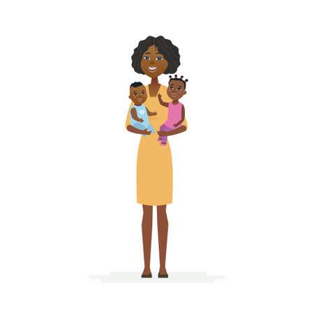 Ilustración de Young African mother with babies - cartoon people characters isolated illustration - Imagen libre de derechos