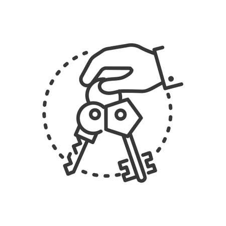 Illustration pour Keys - line design single isolated icon. - image libre de droit